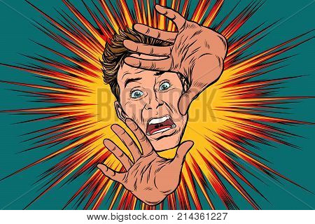Scared man covered with hands. Pop art retro vector illustration