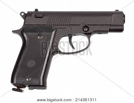 Black pneumatic pistol isolated on white background