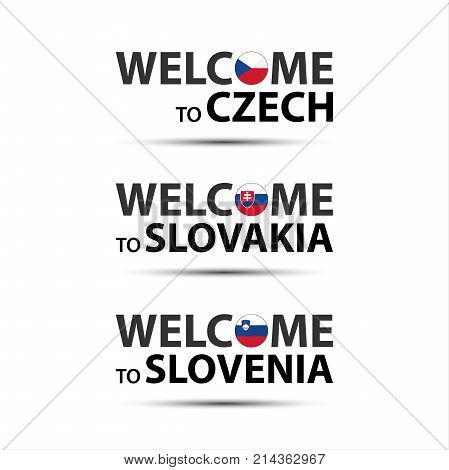 Welcome to Czech welcome to Slovakia and welcome to Slovenia symbols with flags simple modern Czech Slovak and Slovenian icons isolated on white background vector illustration