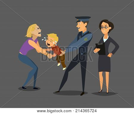 Social services takes the child from the mother. social problem. Vector illustration in flat style.