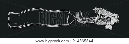 Biplane with flying advertising banner. sketch. Vector hand drawn illustration.