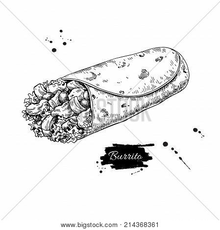 Burrito drawing. Traditional mexican food vector illustration. Hand drawn fast food snack.  Engraved style cuisine. Sketch for restaurant menu, label, banner