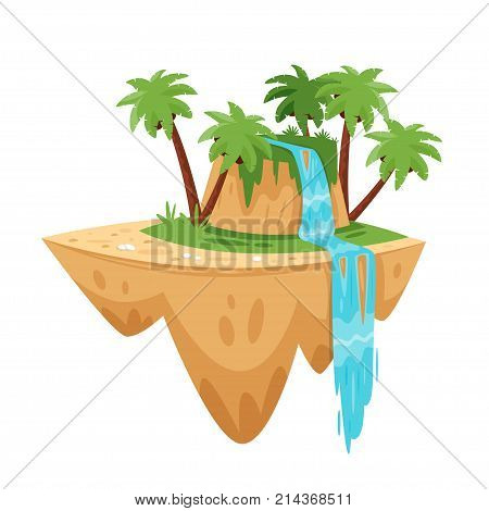 Vector cartoon illustration of game tropic island, isolated on white background. Game user interface (GUI) element for video games, computer or web design.