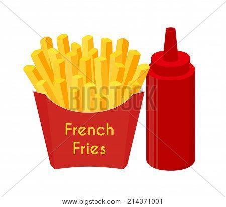 French fries, ketchup, fried potato. Made in cartoon flat style. Vector illustration