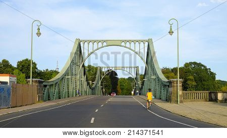 POTSDAM GERMANY - AUGUST 15 2017: View on the Glienicke Bridge in Potsdam.