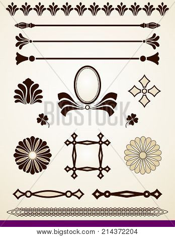 Set of dividers, banners, patterns, design elements and decorations