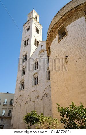 Belltower of Cathedral of San Sabino in Bari Apulia Italy