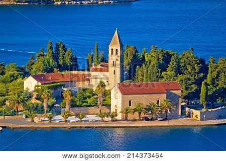 Scenic Island Of Vis Church And Waterfront View