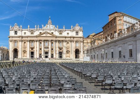ROME, ITALY - JUNE 23, 2017: Amazing view of Saint Peter's Square and St. Peter's Basilica in Rome, Italy