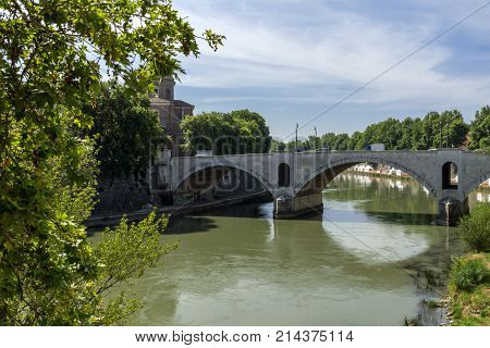 ROME, ITALY - JUNE 23, 2017: Amazing view of Tiber River and Ponte Principe Amadeo Savoia Aosta in city of Rome, Italy