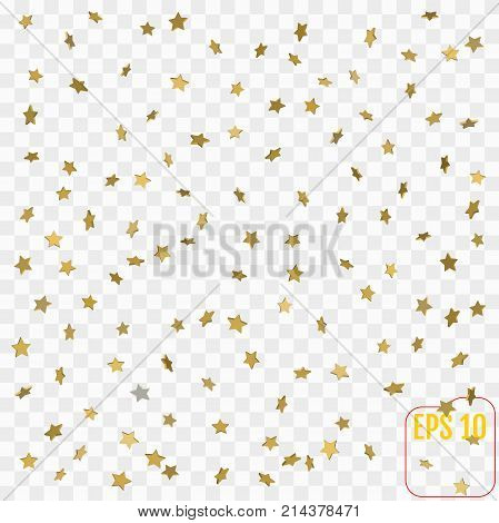 3D Star Falling Print. Gold Yellow Starry On Transparent Backgro