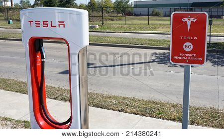 CorsicanaTexas- November 2017 Tesla Supercharger station with hookups ready for Tesla cars are popping up all across the United States.