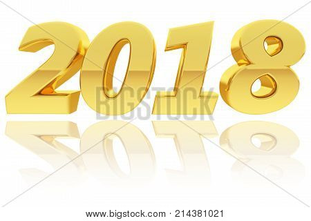 Gold 2018 Digits With Gradient Reflections On Glossy White Background