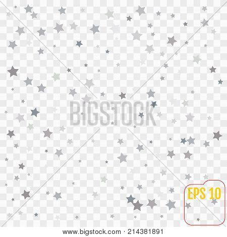 Star Falling Print. Transparent  Silver Starry Background. Vecto