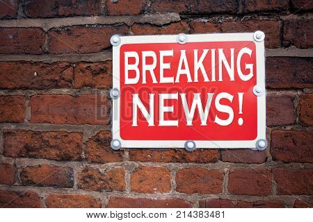 Hand Writing Text Caption Inspiration Showing Breaking News Concept Meaning Newspaper Breaking News