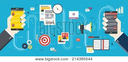 Business And Communication, Social Media And Internet.