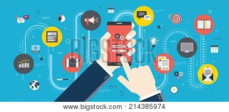 Hand holding mobile phone on login screen. Smartphone application icons connected by lines. Concept of smart communication and technology. Flat vector illustration.