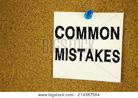 Conceptual Hand Writing Text Caption Inspiration Showing Common Mistakes. Business Concept For Commo