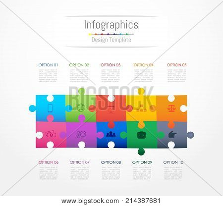Infographic design elements for your business data with 10 options parts steps timelines or processes. Jigsaw puzzle concept Vector Illustration.