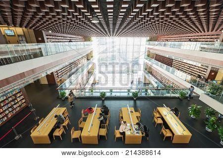 Chengdu, China - Jan 21, 2016 : Chinese people studying in the Chengdu public Library