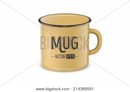 Vector illustration of realistic enamel metal brown mug isolated on white background. Design template for Mock up.