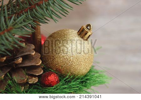 Golden fir tree toy ball. Cristmas Decoration.