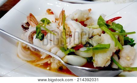 Shrimp salad with spicy food palatable Thailand.