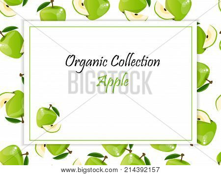 logo of fresh green apple juice. Vector square label, apple jam, sauce or juice label on a seamless pattern background with soft shadow