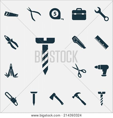 Repair Icons Set With Ruler, Meter, Shears And Other Repair Elements. Isolated Vector Illustration Repair Icons.