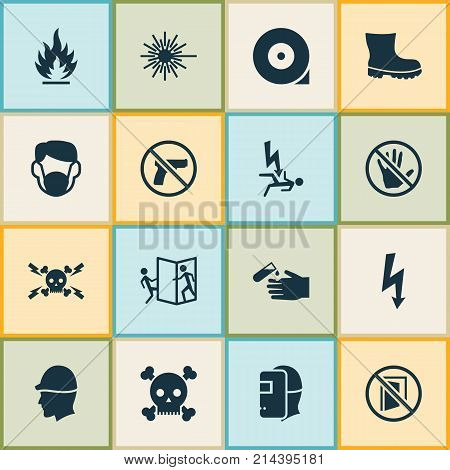 Sign Icons Set With Fire, Footwear, Repair And Other Ban Elements. Isolated Vector Illustration Sign Icons.