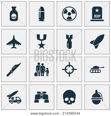 Combat Icons Set With Missile, Bombshell, Fugitive And Other Ordnance Elements. Isolated Vector Illustration Combat Icons.