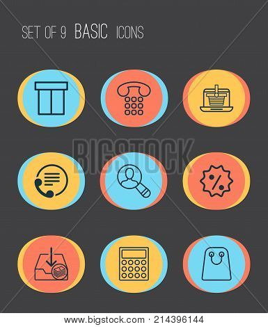 Ecommerce Icons Set With Rebate Sign, Calculator, Callcentre And Other Calculator Elements. Isolated Vector Illustration Ecommerce Icons.