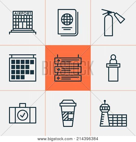 Travel Icons Set With Departure Information, Plane Schedule, Identification Document And Other Plane Schedule Elements. Isolated Vector Illustration Travel Icons.