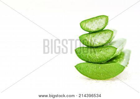 Slice Aloe Vera, A Very Useful Herbal Medicine For Skin Care And Hair Care.