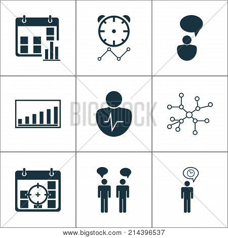 Executive Icons Set With Company Statistics, Presentation Date, Personal Character And Other Company Statistics Elements. Isolated Vector Illustration Executive Icons.