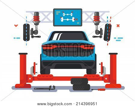 Lift car on auto service. Auto repair service and station maintenance for diagnostic automobile, vector illustration