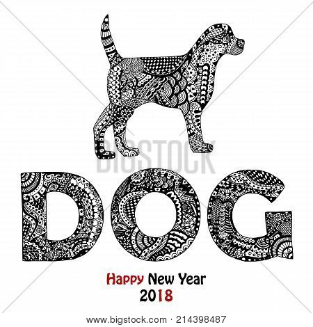 New Year 2018 card with zentangle inspired handdrawn dog and text in black and white