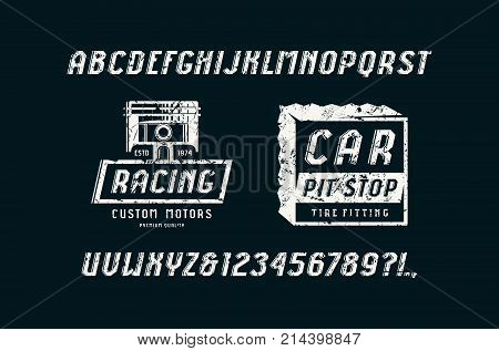 Decorative italic sans serif font in the sport style. Car races and service badges. Letters and numbers with rough texture for logo and title design. White print on black background