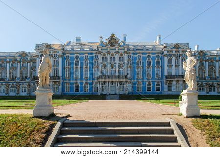 Saint Petersburg, Russia - August 9, 2007: The Catherine Palace located in the town of Tsarskoye Selo (Pushkin) St. Petersburg Russia.