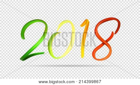 2018 New Year Hand Drawn Lettering Isolated on Transparent Backdrop. Vector Illustration for Greeting Cards or Festive Compositions. Design of Happy New Year Symbol Drawn Acrylic Paint.