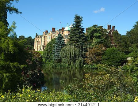 SANDRINGHAM HOUSE, NORFOLK, ENGLAND - AUGUST 10, 2017: A view of the house and grounds at Queen Elizabeth II's Sandringham Estate.