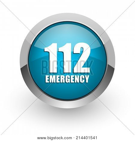 Number emergency 112 blue silver metallic chrome border web and mobile phone icon on white background with shadow