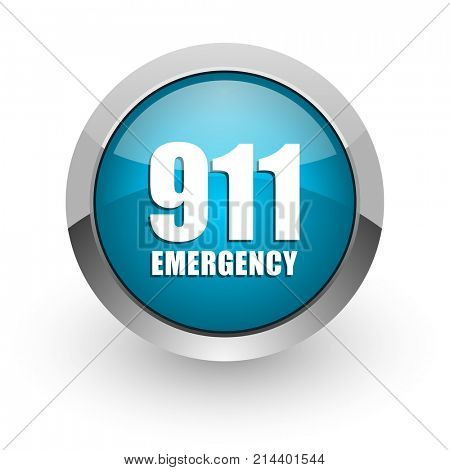 Number emergency 911 blue silver metallic chrome border web and mobile phone icon on white background with shadow