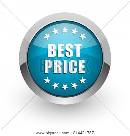 Best price blue silver metallic chrome border web and mobile phone icon on white background with shadow