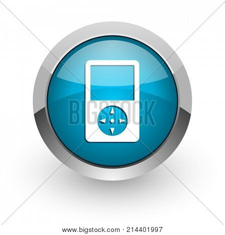 Multimedia player blue silver metallic chrome border web and mobile phone icon on white background with shadow
