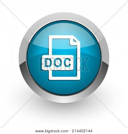 Doc file blue silver metallic chrome border web and mobile phone icon on white background with shadow