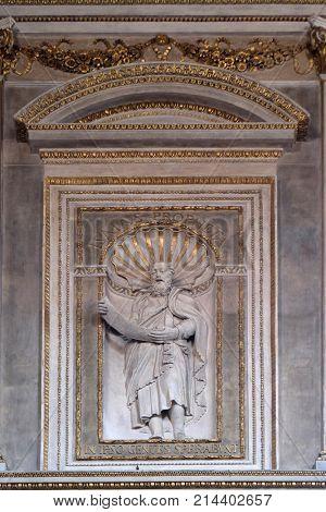 MANTUA, ITALY - JUNE 04: Prophet Isaiah, statue in Mantua Cathedral dedicated to Saint Peter, Mantua, Italy on June 04, 2017.
