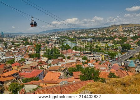TBILISI, GEORGIA - 31 July 2017: Panoramic View over Tbilisi City Center in the Capital of Georgia country