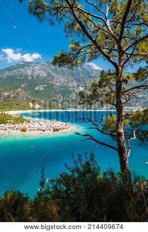 Oludeniz beach and blue clear water of Aegean sea, Turkey