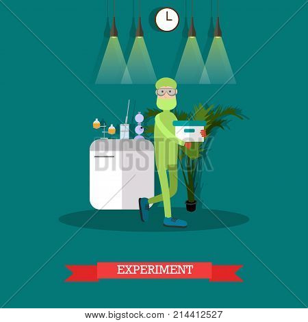 Vector illustration of biologist or chemist male in protective mask and glasses carrying out experiment. Laboratory equipment and interior. Scientific experiment flat style design element.